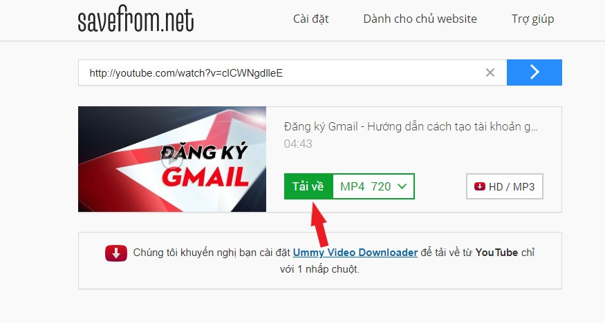 Tải Video Youtube từ Savefrom